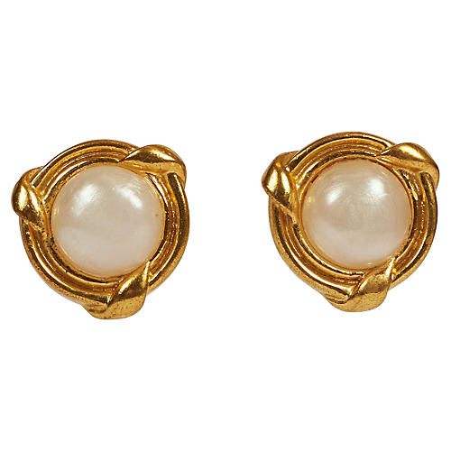 Chanel Faux Mabe Pearl Small Earrings