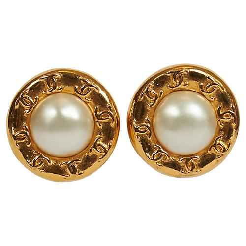 Chanel Faux Pearl Logo Clip Earrings