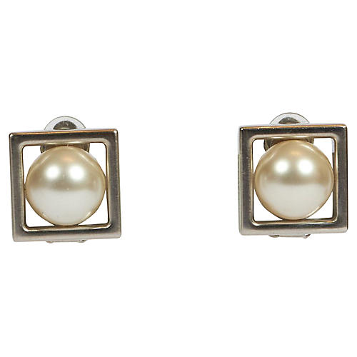 Chanel Silver & Pearl Square Earrings