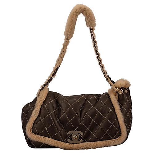 Chanel Brown Shearling Single Flap Bag