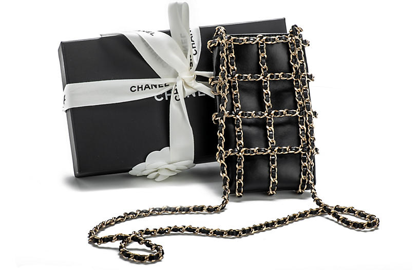 Chanel Cell Phone Case Black Gold