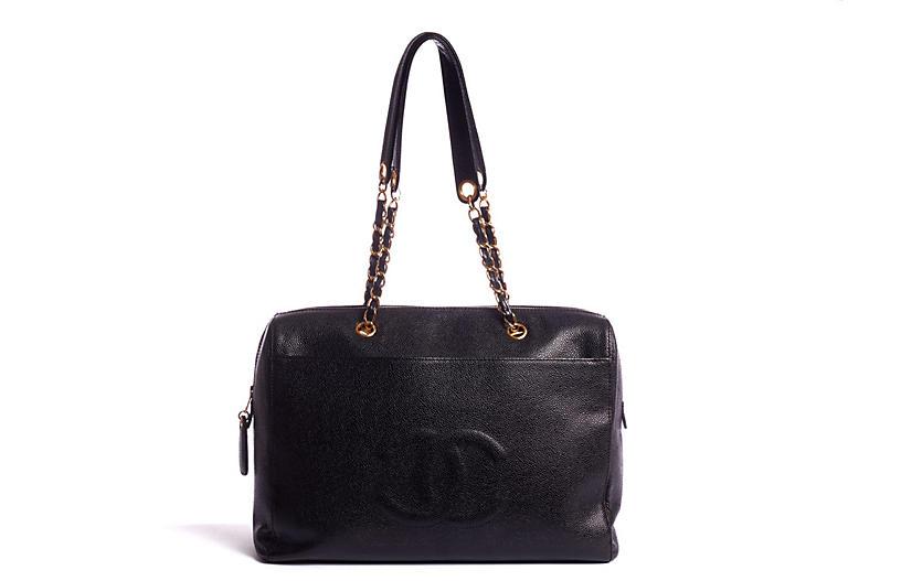 Chanel 90s Supermodel Black Zipped Tote