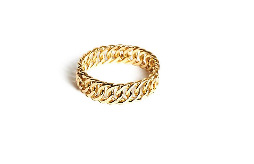 Chanel Logo Chain Gold Bangle Bracelet