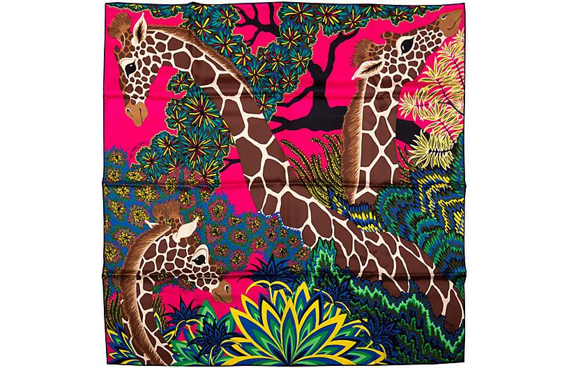 Hermes Hot Pink Giraffe Scarf BNIB