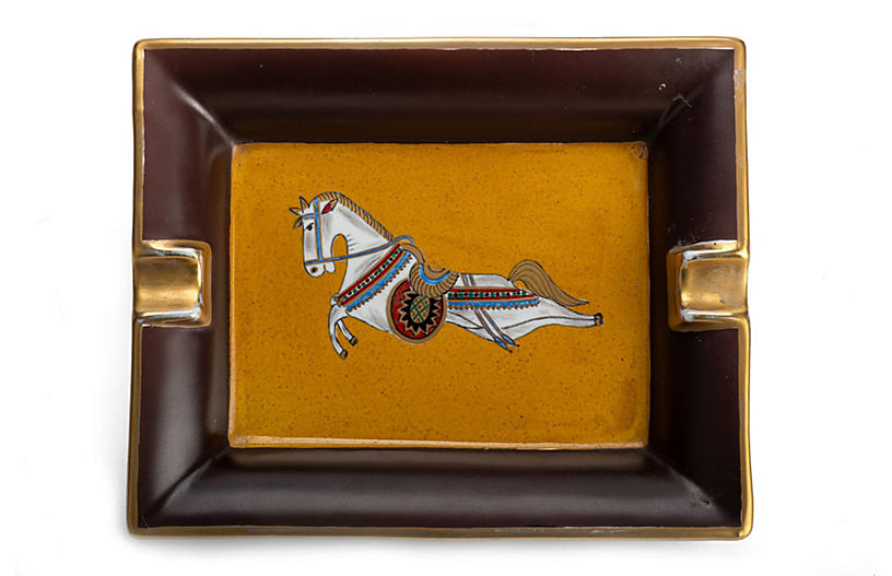 Hermès Brown Horse Porcelain Ashtray