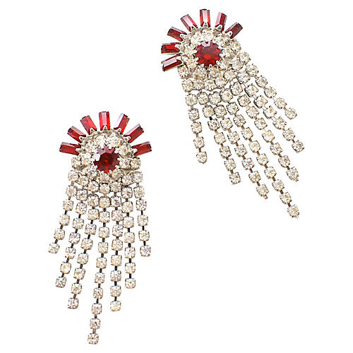 Ruby Red Rhinestone Earrings