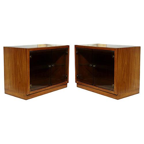 Midcentury Walnut Cabinets, Pair