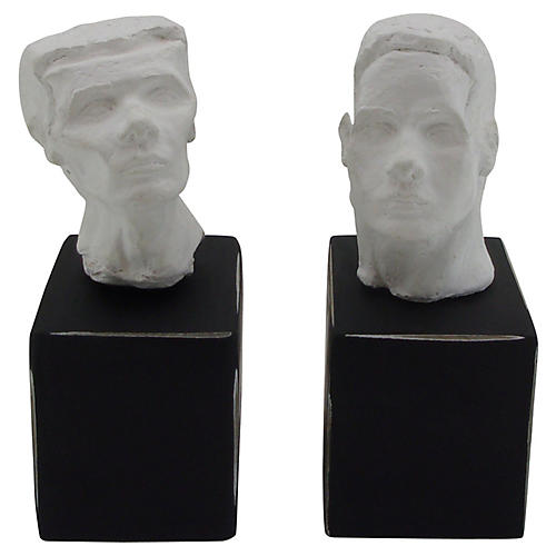Plaster Bust Bookends on Black Bases
