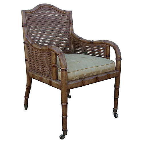 Midcentury Faux-Bamboo & Cane Chair
