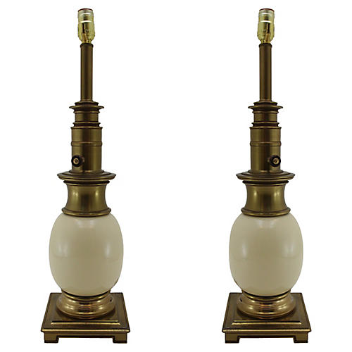 Midcentury Ostrich Lamps, Pair