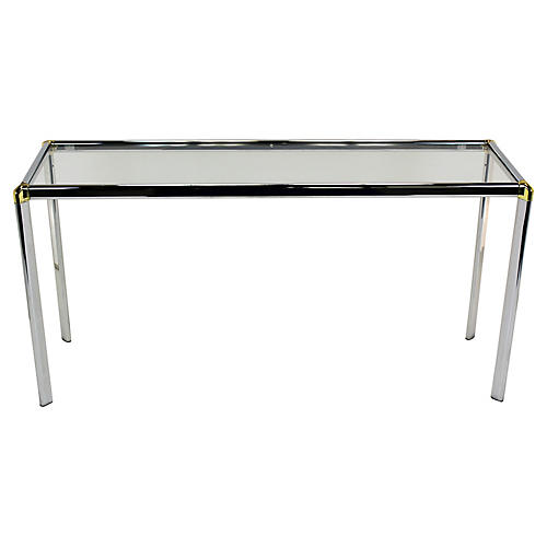 Chrome Console w/ Brass-Plate Accents