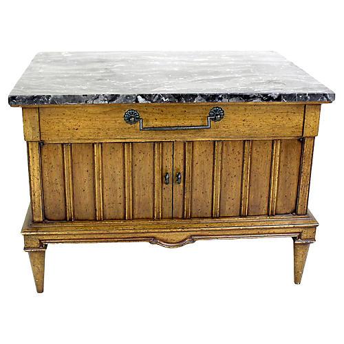 Midcentury Walnut Cabinet w/ Marble Top