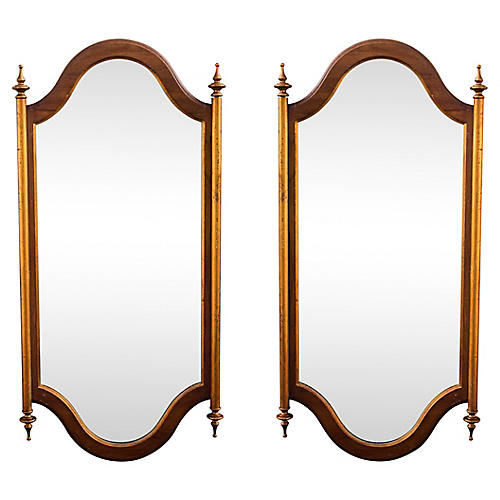 Mid-Century Modern Walnut Mirrors, Pair