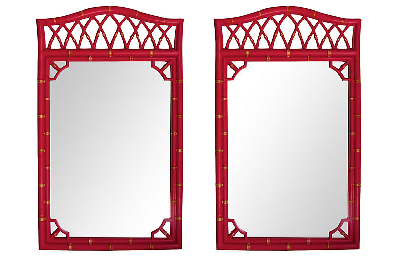 Bamboo-Style Lacquered Mirrors, Pair