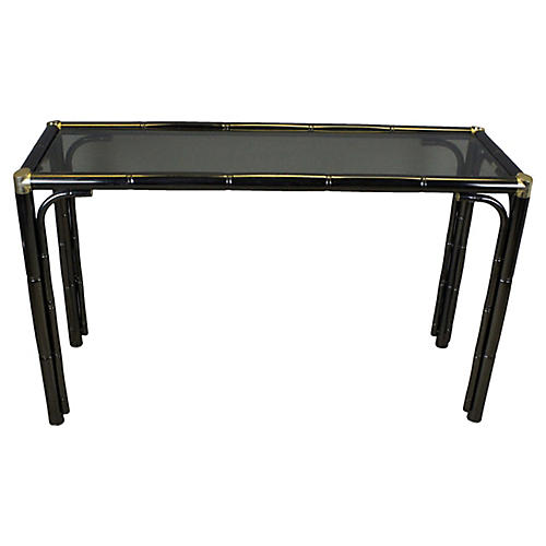 Bamboo-Style Console w/ Glass Top