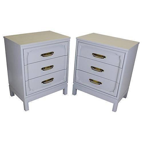 Gray 3-Drawer Nightstands, Pair