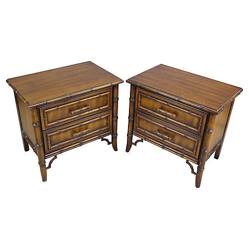 Faux-Bamboo Nightstands, Pair