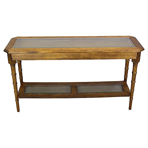 Mid Century Walnut Two-Tiered Console