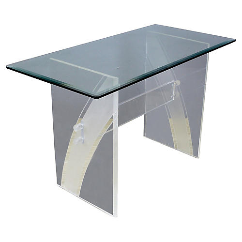 Midcentury Clear Lucite Desk