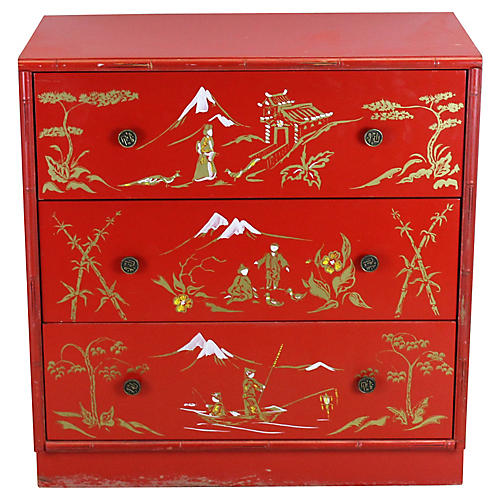 Red Asian Style Chest of Drawers