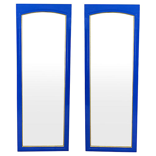 Mid-Century Blue Lacquered Mirrors