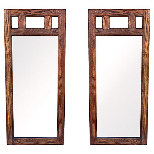 Mid Century Oak Mirrors , A Pair