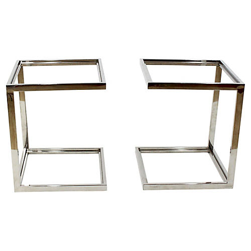 2-Tier Chrome Side Tables, Pair
