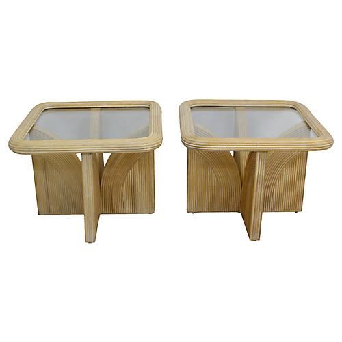 Glass-Top Reed Side Tables, Pair