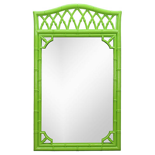 Bright Green Faux-Bamboo Mirror