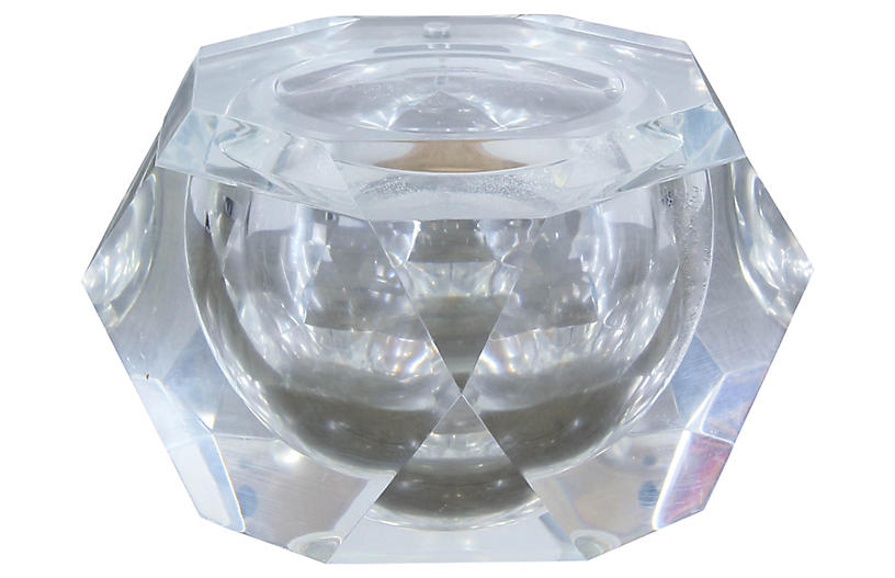 1970s Faceted Lucite Ice Bucket