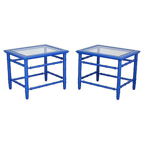 Mid-Century Royal Blue Side Tables