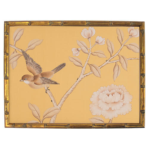 Sepia Bird on Buttercream Silk Painting