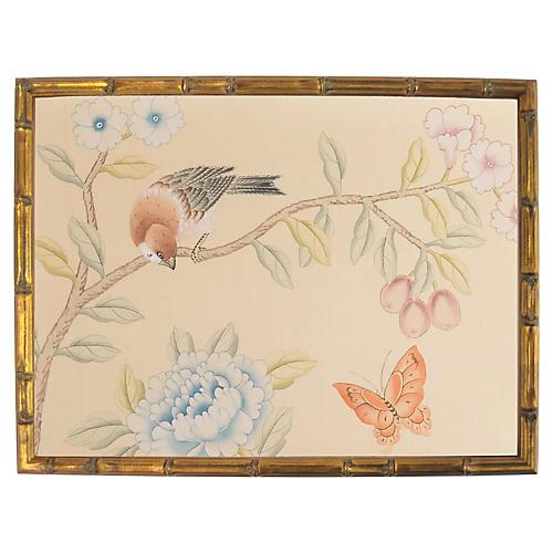 Bird & Butterfly on Silk