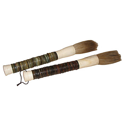 Stone Disk Calligraphy Brushes, Pair