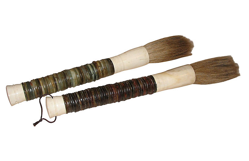 Stone disk calligraphy brushes pair outdoor one kings