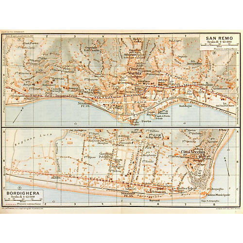 Map of San Remo, Italy, 1924