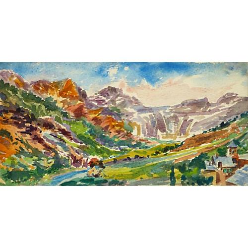 Western Valley Watercolor, C. 1930