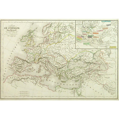 Map of Europe in Barbaric Times, 1843