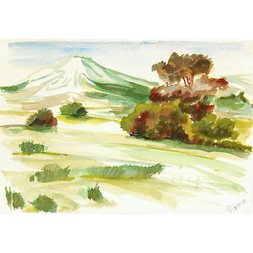 1960s Watercolor Landscape