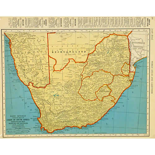 South Africa Map, 1937