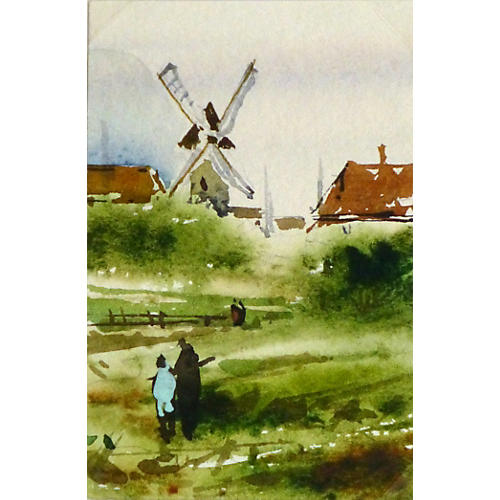 Homestead Windmill Watercolor
