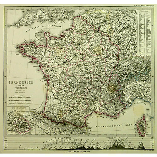 Map of France, 1874