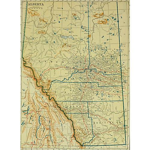Map of Alberta, Canada, 1917