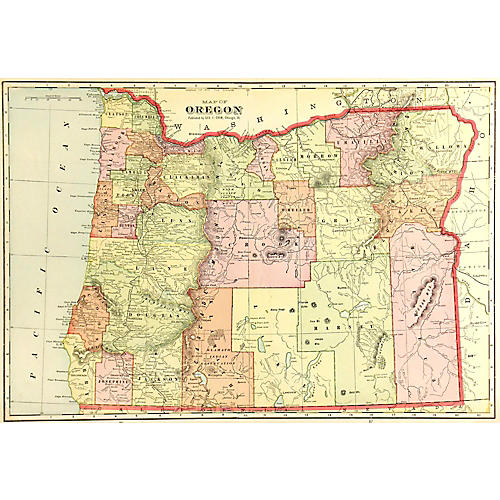Map of Oregon, 1908