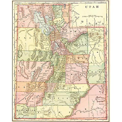 Antique Map of Utah, 1902