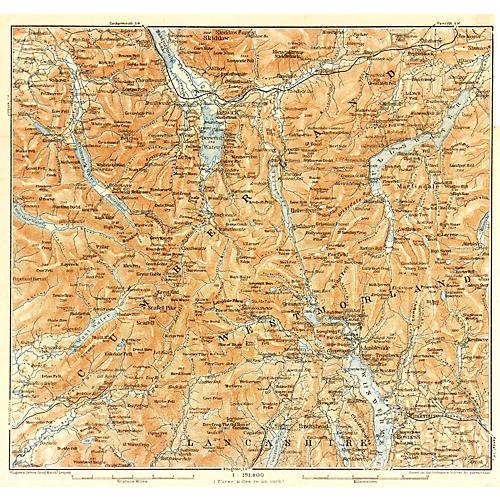 Map of Lake District, England, 1927