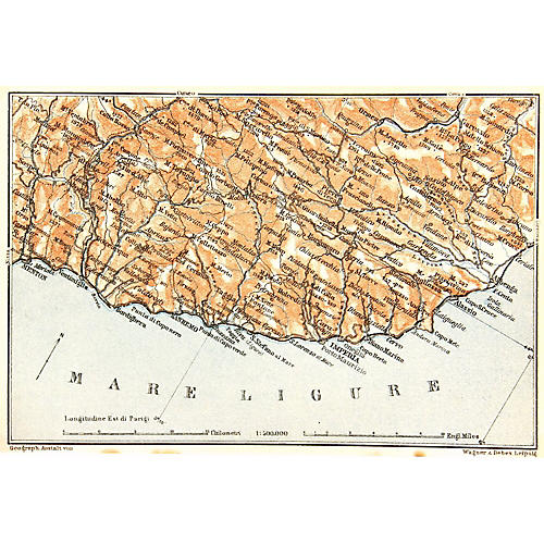Map of San Remo, Ligurian Sea, 1928