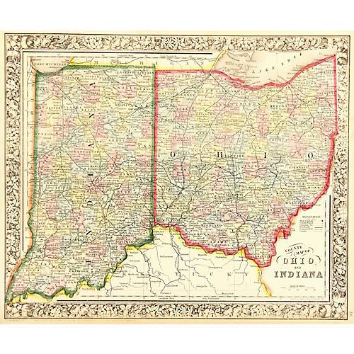 Map of Ohio & Indiana, 1863