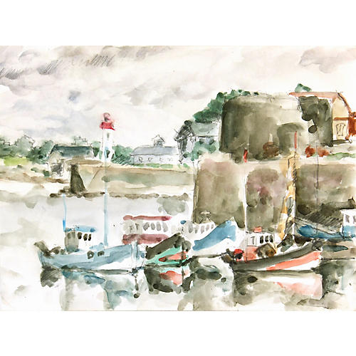 Boats & Lighthouse, C. 1950