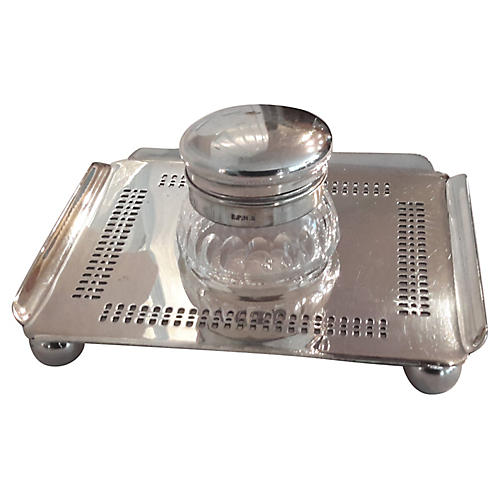 English Silver-Plated Inkwell & Stand